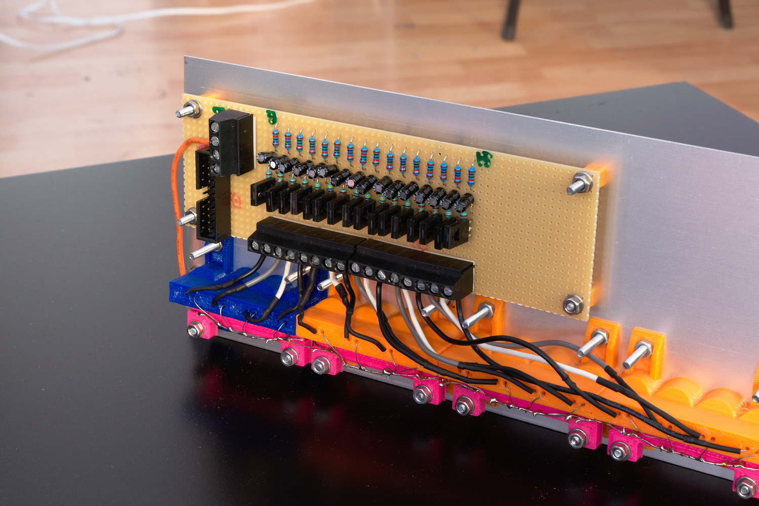 Detailed view of the nixie tube driver board