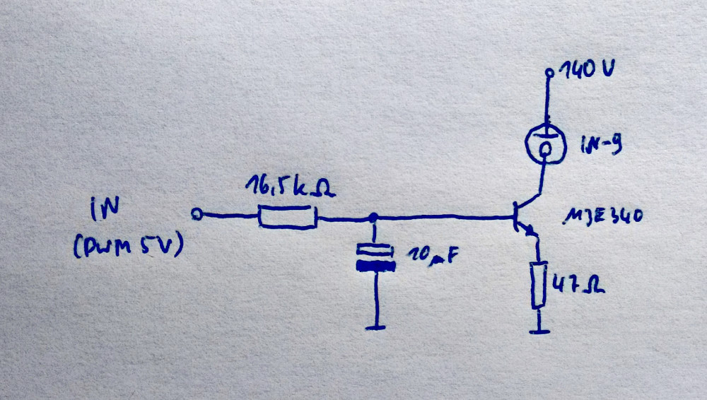 Schematic of the driver circuit for a single tube